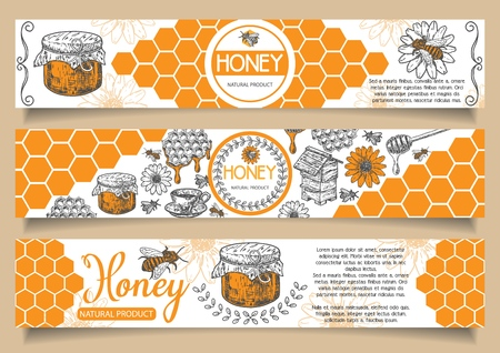 Bee natural honey vector horizontal banner set. Hand drawn honey natural product concept design elements for honey business advertising. Vettoriali