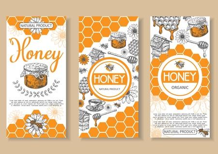 Bee natural honey vector poster, flyer, banner set. Hand drawn honey natural organic product concept design elements for honey business advertising. Illustration