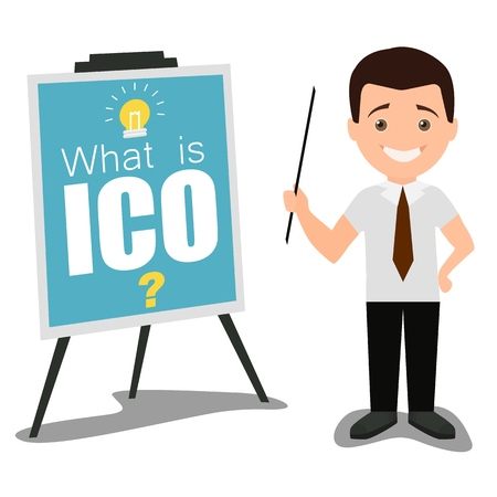 Vector illustration of businessman speaker giving presentation of what is ico using visual aids. Business conference meeting concept. Flat style design.