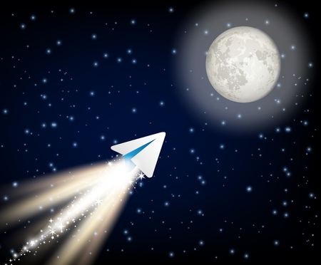 Telegram cryptocurrency flying to the moon like space rocket vector illustration
