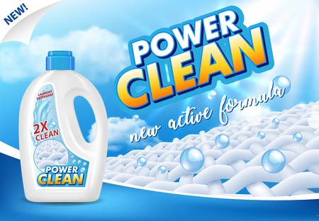 Gel or liquid laundry detergent advertising vector illustration Illustration