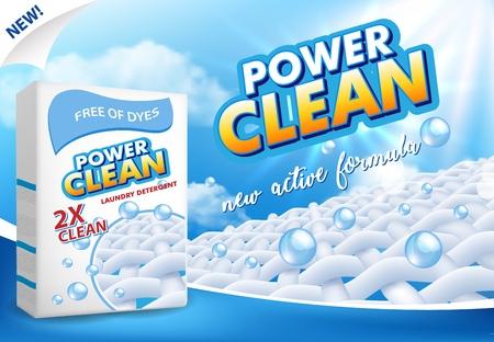 Powder laundry detergent advertising vector illustration