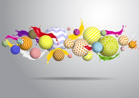 Vector abstract multicolor balls background. 3d illustration