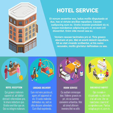 Hotel service vector flat isometric poster, banner with hotel building, copy space and hotel reception, luggage delivery, breakfast buffet, room service concept design elements. Illustration