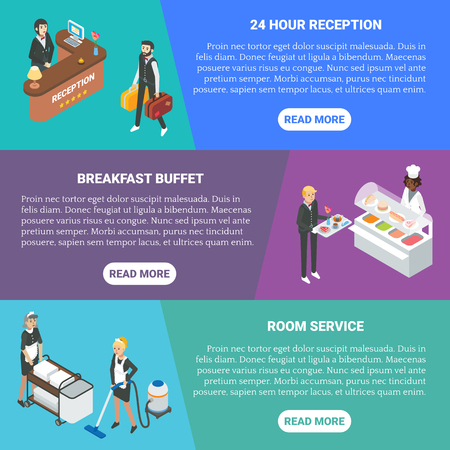 Hotel service vector flat isometric horizontal banner set. 24 hour reception, Breakfast buffet, Room service concept design elements.