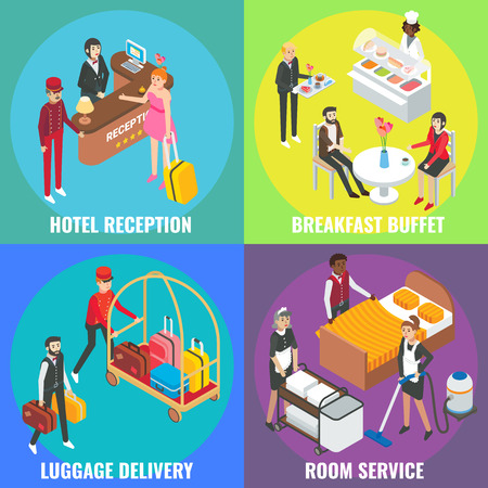 Hotel service vector flat isometric poster, banner set. Hotel reception, Breakfast buffet, Luggage delivery, Room service concept design elements.