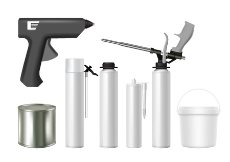 Building tools and construction foam, sealant, glue containers. Vector realistic illustration isolated on white background. Building material packaging mockup set.