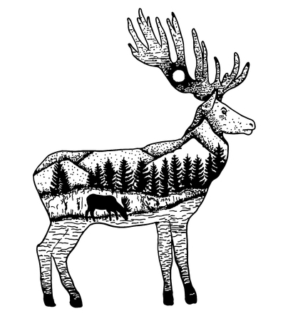 Stylized elk with nature landscape. Vector ink hand drawn illustration isolated on white background. Tattoo art design. 矢量图像