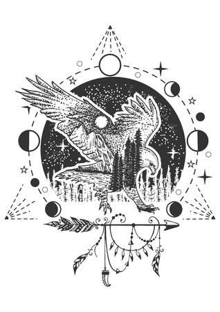 Vector eagle tattoo or t-shirt print design. Eagle combined with nature, geometric pattern, moon phases and boho elements. 向量圖像