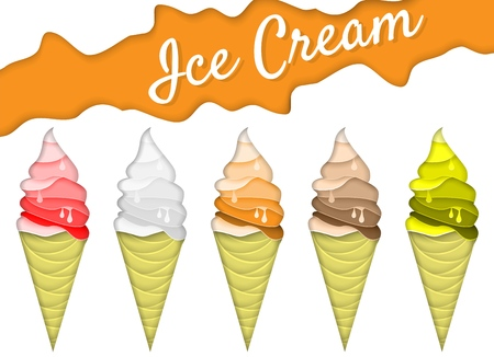 Ice cream cone icon set. Vector illustration in paper art style. Origami melting ice cream. Summer background, poster, banner, flyer design template. Illustration