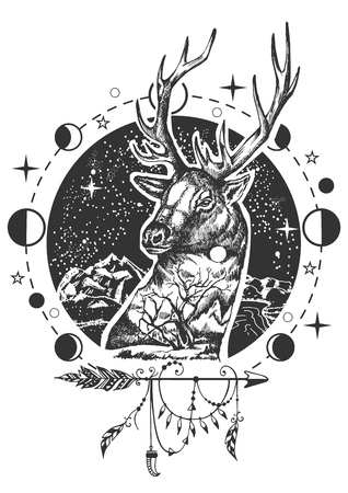 Vector animal tattoo or t-shirt print design. Deer head combined with nature, moon phases and boho elements.