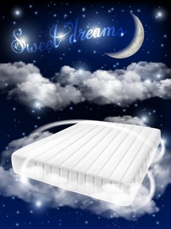 Realistische Illustration des Konzeptvektors der süßen Träume. Weiße Matratze auf Hintergrund des mondbeschienen Himmels. Bequeme Matratzenanzeige-Designschablone.