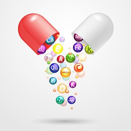 Vitamin complex pharmaceutical capsule with vitamins and minerals. Vector realistic illustration. Medical vitamins and minerals ad design element.