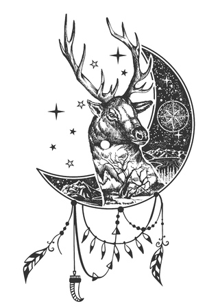 Vector boho deer tattoo or t-shirt print design. Deer head on crescent moon combined with nature and boho elements.