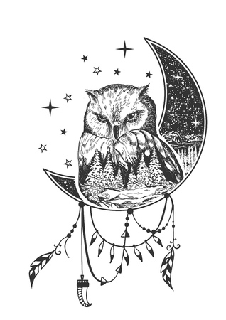 Vector boho owl tattoo or t-shirt print design. Owl on crescent moon combined with nature and boho elements. Stock Illustratie