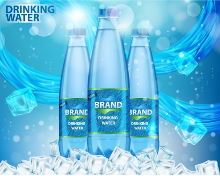 Drinking water ad design template. Vector realistic plastic mineral water bottles with your brand on blue background with water splashes, drops and ice cubes.