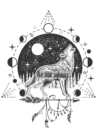 Vector howling wolf tattoo or t-shirt print design