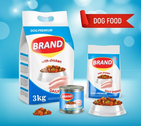 Dog food vector realistic illustration.