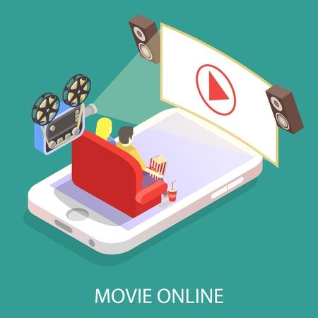 Movie online vector flat isometric illustration  イラスト・ベクター素材