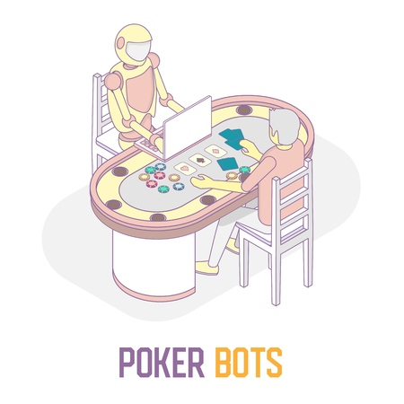 Poker bots concept vector isometric illustration Иллюстрация