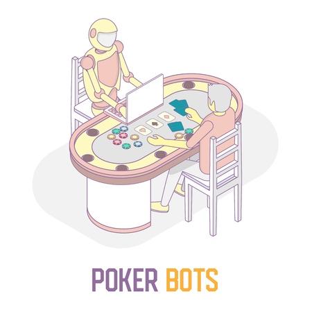 Poker bots concept vector isometric illustration Illustration