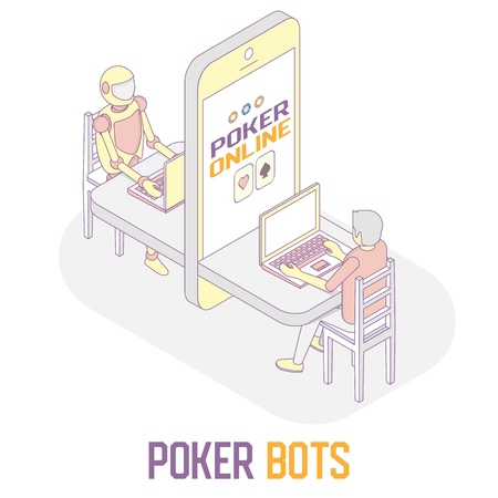 Poker bots concept vector isometric illustration Vectores