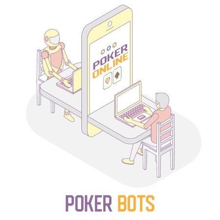 Poker bots concept vector isometric illustration Vectores