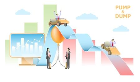 Pump and dump stock exchange scheme vector design Illustration