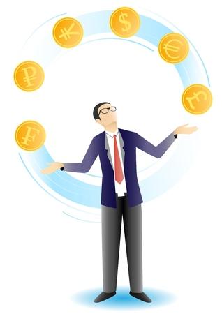 Businessman juggling coins vector illustration