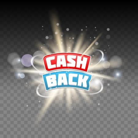Vector cash back lettering on transparent background