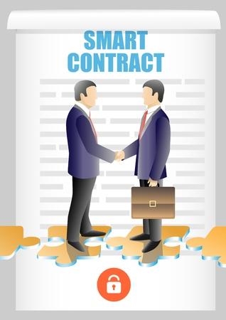 Blockchain smart contract vector illustration