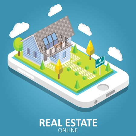 Real estate online concept. Vector isometric illustration. Smartphone with house building, for sale sign. Mobile app design template.