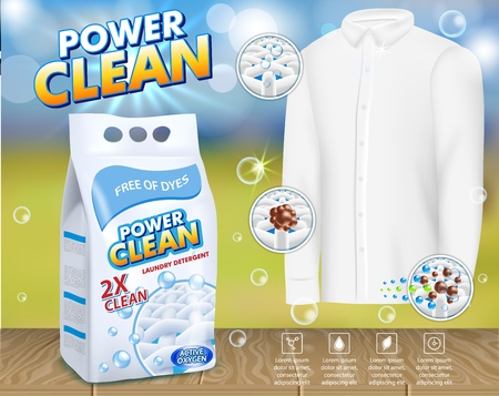 Powder laundry detergent advertising poster. Vector realistic illustration. Washing powder foil bag package design template and clean men shirt. Иллюстрация