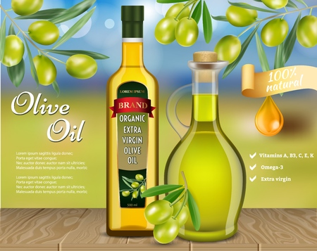 Olive oil advertising template. Vector realistic olive oil glass bottle and jug with olive branches and copy space.