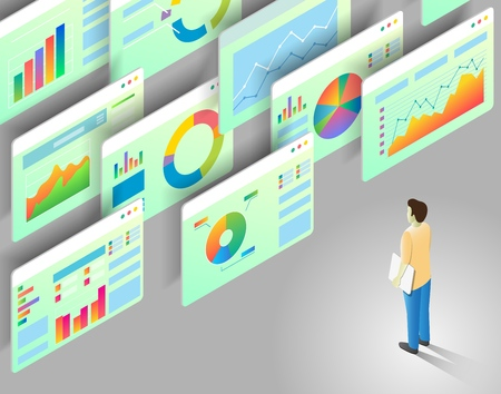 Data analytics concept. Vector isometric illustration of man looking at business statistics charts and graphs.