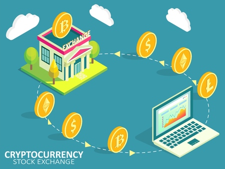 Cryptocurrency exchange process vector infographic