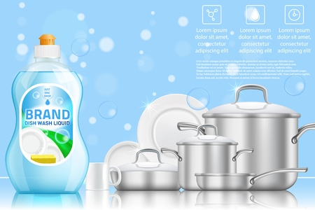 Dishwashing advertising vector realistic template Illustration