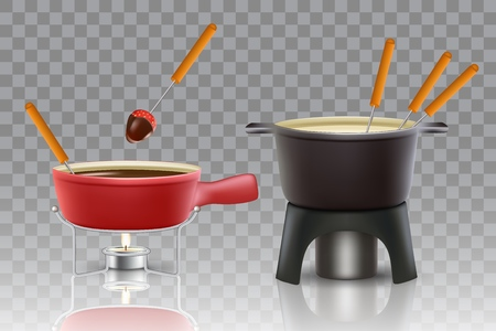 Cheese and chocolate fondue icon set. Vector realistic illustration of fondue pots fondue makers isolated on transparent background. Illustration