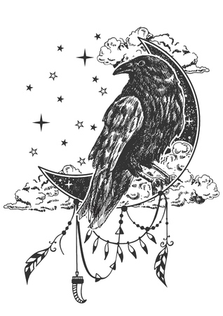 Black raven on crescent moon combined with nature and boho elements. Illustration