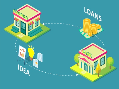 Company loan concept vector isometric illustration.