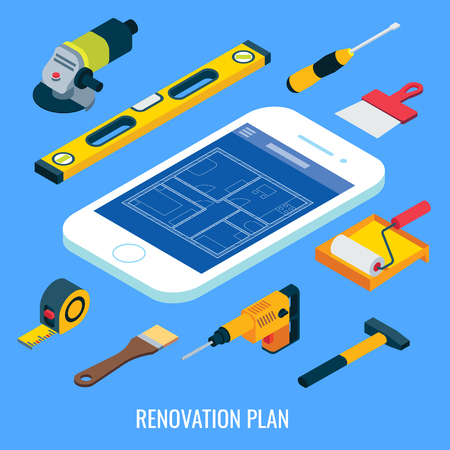 Renovation plan vector flat isometric illustration