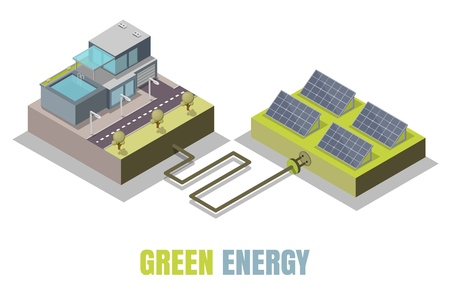 Green energy concept vector illustration. Isometric eco friendly modern house and solar panels producing electrical energy. Иллюстрация