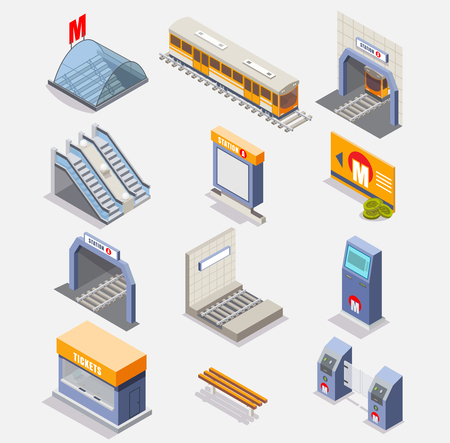 Subway icon set. Vector flat isometric illustration of metro underground items such as subway train, tunnel, subway platform, station, escalator, entrance gate or turnstile, ticket machine etc. Illustration