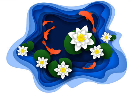 Water lily on lake with koi fish. Vector illustration in paper cut style. Vectores