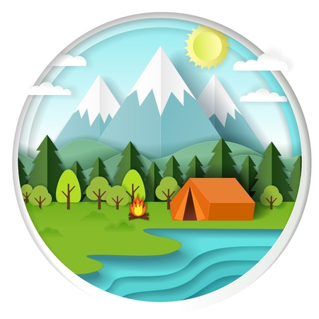 Summer camping background in circle with forest, mountains, lake, campfire and tent. Vector illustration in paper art style.