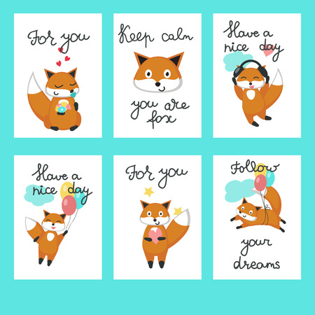 Cute foxes cards. Vector template set with funny cartoon characters with hearts, flowers, balloons, headphones and For you, Have a nice day, Keep calm you are fox, Follow your dreams calligraphy text.