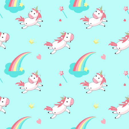 Magic unicorn seamless pattern. Vector hand drawn romantic unicorns and rainbows, clouds, hearts, magic wands, crowns.