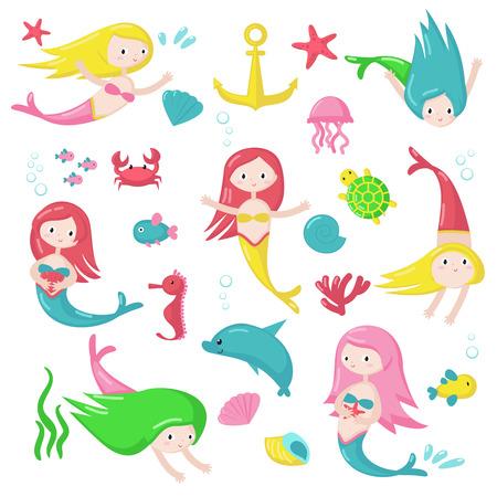 Lindo icono de sirena para tarjeta de felicitación, invitación, cartel, pegatina, impresión. Vector ilustración aislada de hermosas chicas nadando con delfines, cangrejos, medusas, estrellas de mar, peces, tortugas y caballitos de mar Ilustración de vector