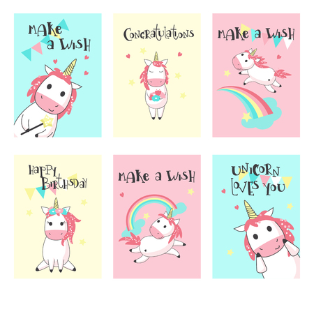 Magic unicorn birthday greeting cards. Vector hand drawn illustration. Happy birthday card templates for kids with cute color unicorns, rainbows, clouds, hearts. Stock Vector - 103946651