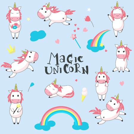 Cute magic unicorn icon set. Vector hand drawn illustration of romantic mythical creature unicorn and rainbows, clouds, hearts, magic wand, crown, ice cream, flowers.